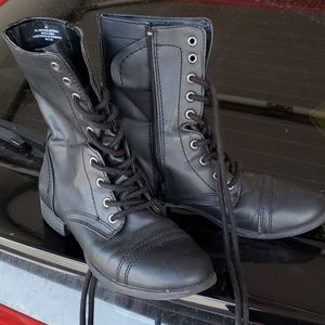 Black combat style boots